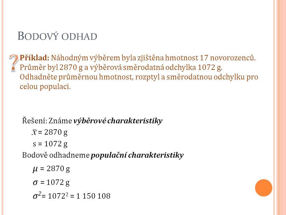B ODOVÝ ODHAD Příklad: Náhodným výběrem byla zjištěna hmotnost 17 novorozenců. Průměr byl 2870 g a výběrová směrodatná odchylka 1072 g. Odhadněte prům
