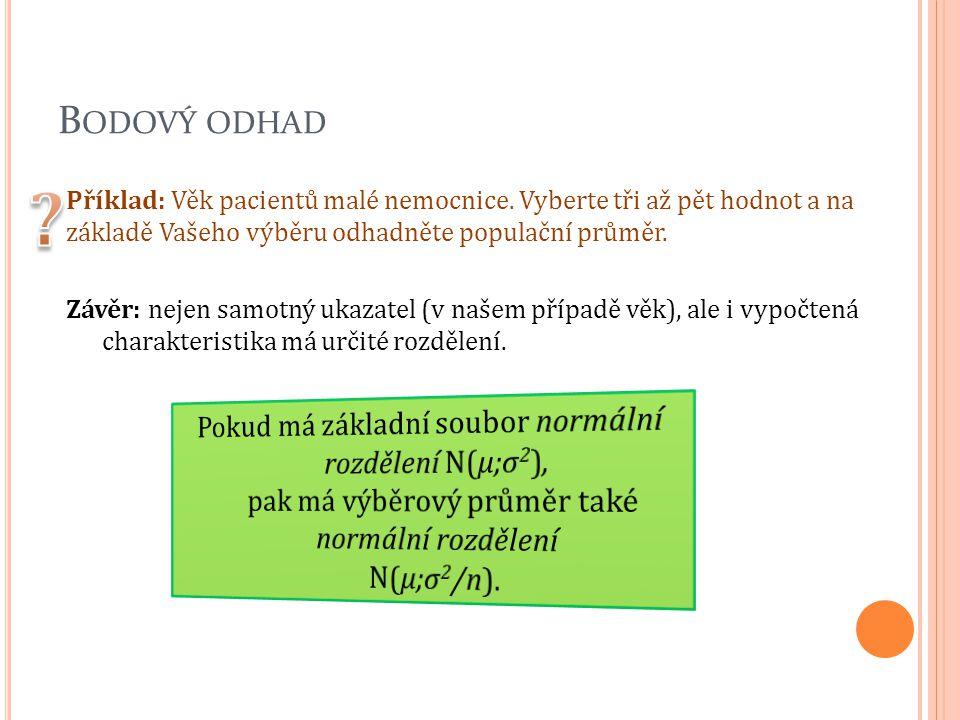 B ODOVÝ ODHAD Příklad: Věk pacientů malé nemocnice. Vyberte tři až pět hodnot a na základě Vašeho výběru odhadněte populační průměr. Závěr: nejen samo