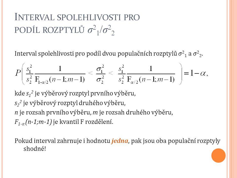 Interval spolehlivosti pro podíl dvou populačních rozptylů σ 2 1 a σ 2 2. kde s 1 2 je výběrový rozptyl prvního výběru, s 2 2 je výběrový rozptyl druh