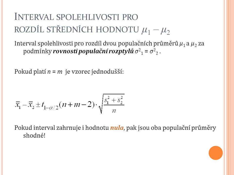 Interval spolehlivosti pro rozdíl dvou populačních průměrů μ 1 a μ 2 za podmínky rovnosti populační rozptylů σ 2 1 = σ 2 2. Pokud platí n = m je vzore