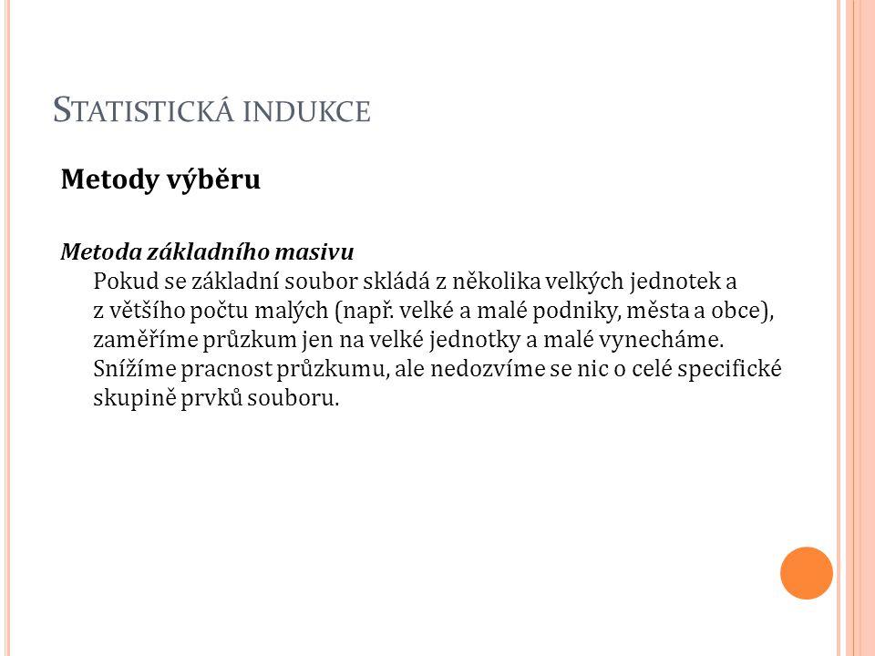 S TATISTICKÁ INDUKCE Metody výběru Metoda základního masivu Pokud se základní soubor skládá z několika velkých jednotek a z většího počtu malých (např