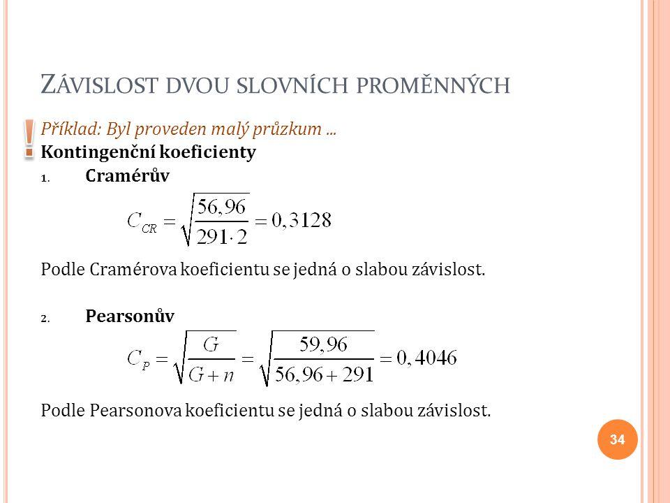 Z ÁVISLOST DVOU SLOVNÍCH PROMĚNNÝCH Příklad: Byl proveden malý průzkum... Kontingenční koeficienty 1. Cramérův Podle Cramérova koeficientu se jedná o
