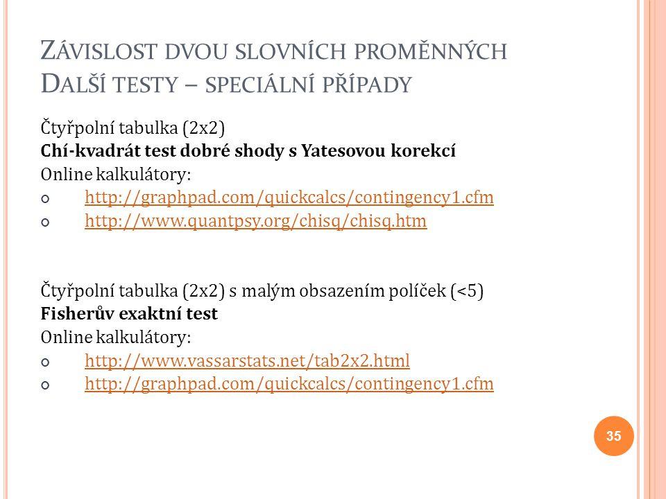 Z ÁVISLOST DVOU SLOVNÍCH PROMĚNNÝCH D ALŠÍ TESTY – SPECIÁLNÍ PŘÍPADY Čtyřpolní tabulka (2x2) Chí-kvadrát test dobré shody s Yatesovou korekcí Online k