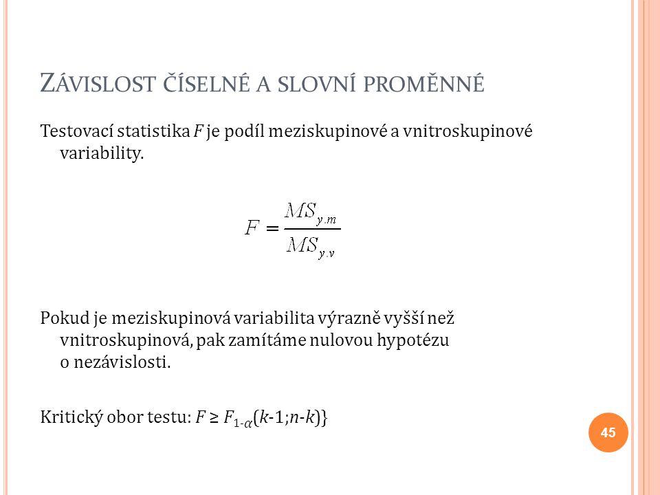 Z ÁVISLOST ČÍSELNÉ A SLOVNÍ PROMĚNNÉ Testovací statistika F je podíl meziskupinové a vnitroskupinové variability. Pokud je meziskupinová variabilita v