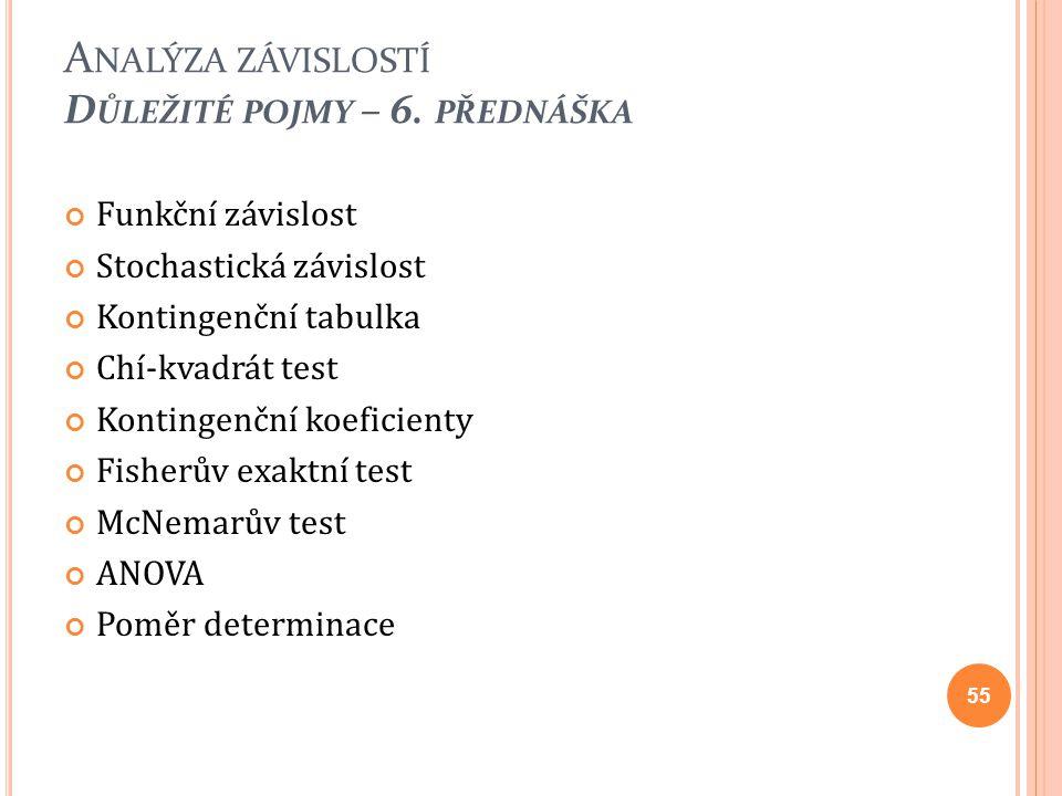 Funkční závislost Stochastická závislost Kontingenční tabulka Chí-kvadrát test Kontingenční koeficienty Fisherův exaktní test McNemarův test ANOVA Pom
