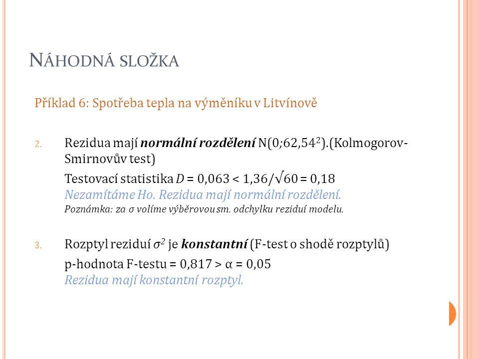 N ÁHODNÁ SLOŽKA Příklad 6: Spotřeba tepla na výměníku v Litvínově 2. Rezidua mají normální rozdělení N(0;62,54 2 ).(Kolmogorov- Smirnovův test) Testov