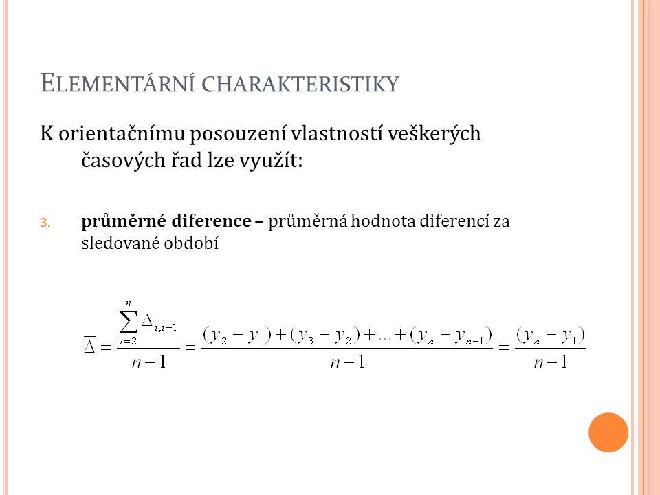 E LEMENTÁRNÍ CHARAKTERISTIKY K orientačnímu posouzení vlastností veškerých časových řad lze využít: 3. průměrné diference – průměrná hodnota diferencí
