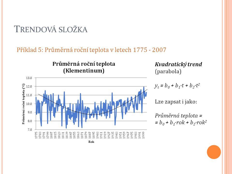 T RENDOVÁ SLOŽKA Příklad 5: Průměrná roční teplota v letech 1775 - 2007 Kvadratický trend (parabola) y t = b 0 + b 1 ·t + b 2 ·t 2 Lze zapsat i jako: