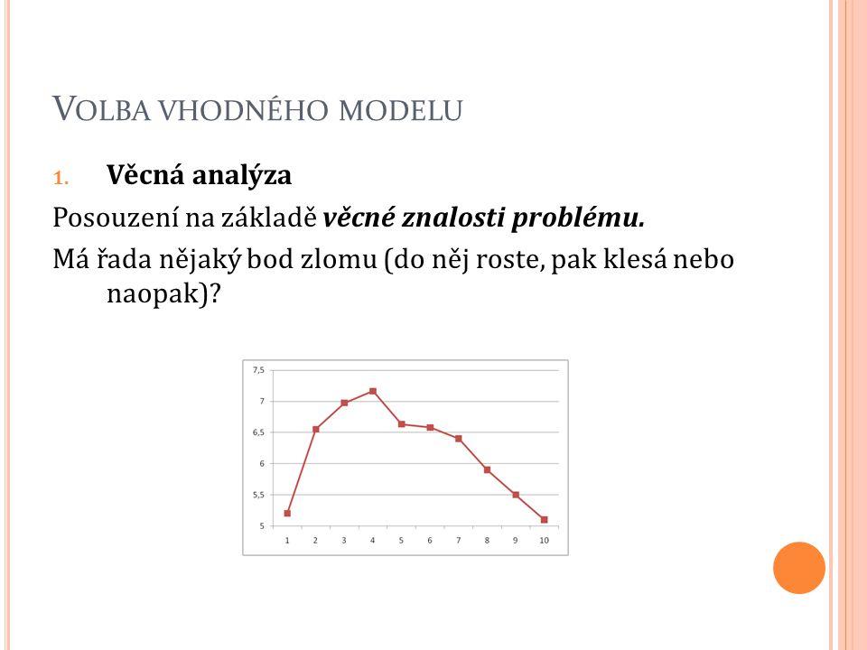 V OLBA VHODNÉHO MODELU 1. Věcná analýza Posouzení na základě věcné znalosti problému. Má řada nějaký bod zlomu (do něj roste, pak klesá nebo naopak)?