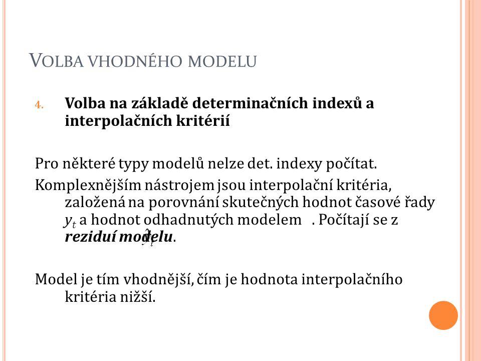 V OLBA VHODNÉHO MODELU 4. Volba na základě determinačních indexů a interpolačních kritérií Pro některé typy modelů nelze det. indexy počítat. Komplexn
