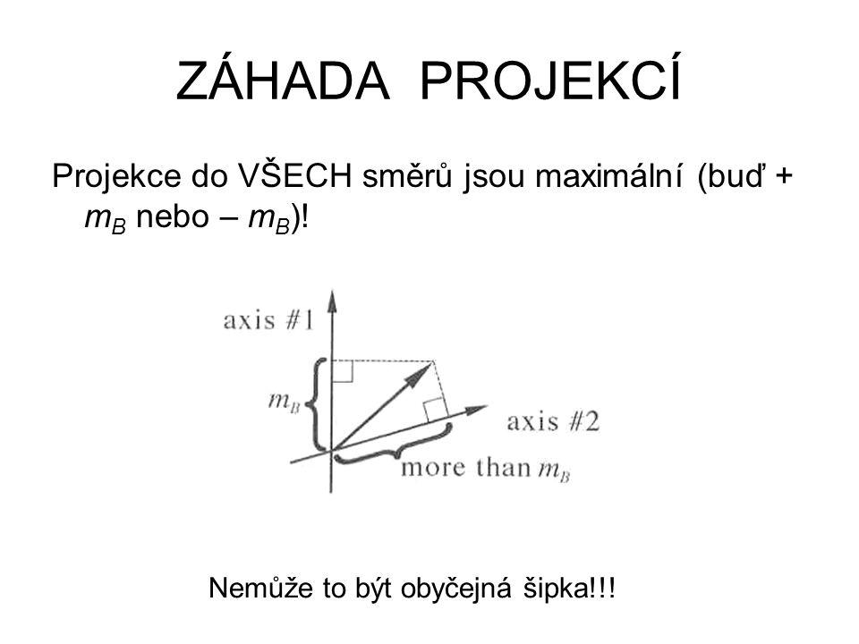 Projekce do VŠECH směrů jsou maximální (buď + m B nebo – m B ).