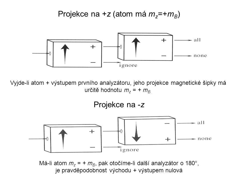 Projekce na +z (atom má m z =+m B ) Projekce na -z Vyjde-li atom + výstupem prvního analyzátoru, jeho projekce magnetické šipky má určitě hodnotu m z = + m B.