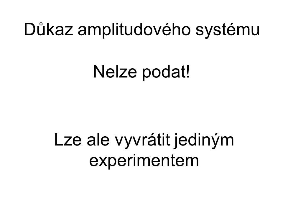 Důkaz amplitudového systému Nelze podat! Lze ale vyvrátit jediným experimentem