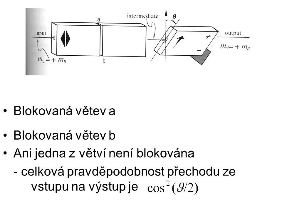 Blokovaná větev a Blokovaná větev b Ani jedna z větví není blokována - celková pravděpodobnost přechodu ze vstupu na výstup je