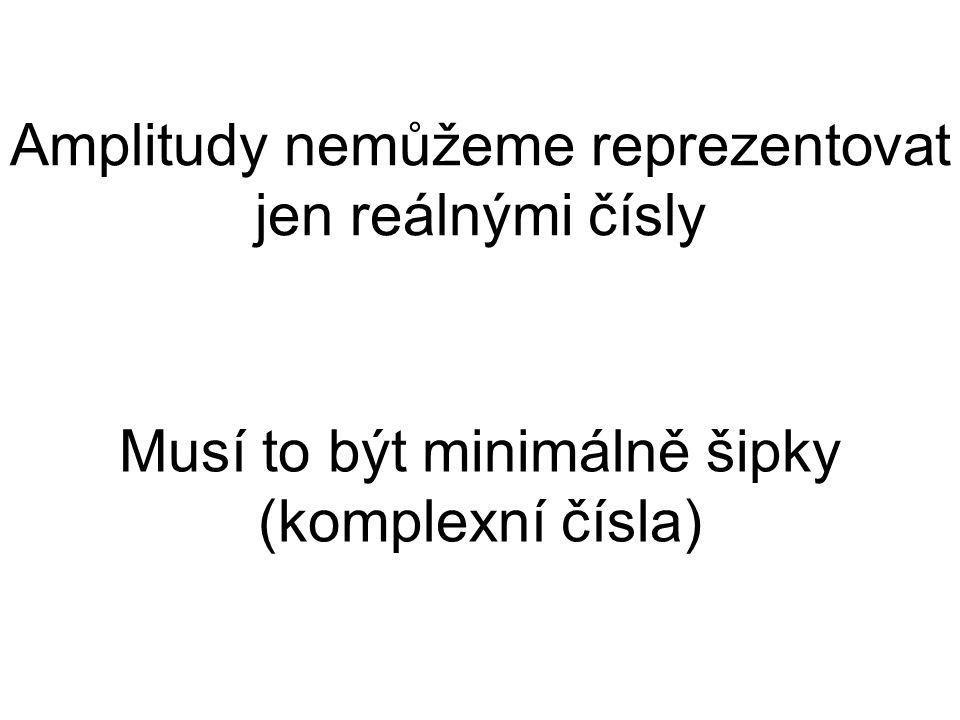 Amplitudy nemůžeme reprezentovat jen reálnými čísly Musí to být minimálně šipky (komplexní čísla)