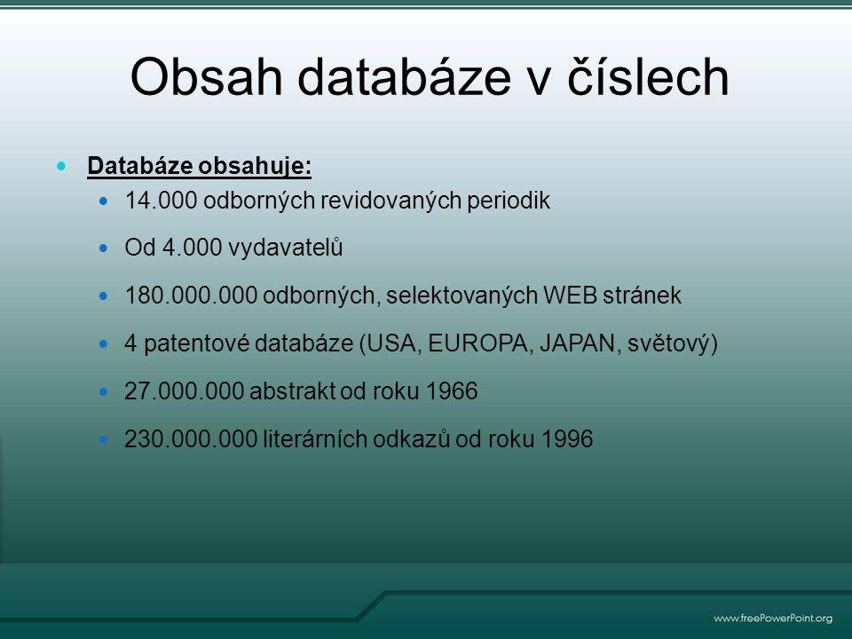 Obsah databáze v číslech Databáze obsahuje: 14.000 odborných revidovaných periodik Od 4.000 vydavatelů 180.000.000 odborných, selektovaných WEB stránek 4 patentové databáze (USA, EUROPA, JAPAN, světový) 27.000.000 abstrakt od roku 1966 230.000.000 literárních odkazů od roku 1996