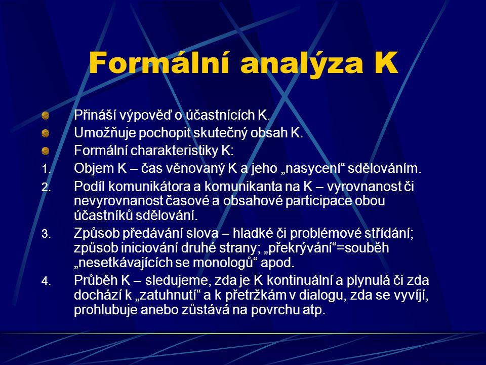 Formální analýza K Přináší výpověď o účastnících K. Umožňuje pochopit skutečný obsah K. Formální charakteristiky K: 1. Objem K – čas věnovaný K a jeho