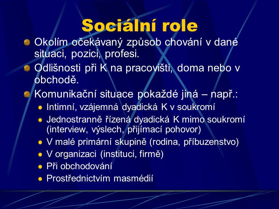 Sociální role Okolím očekávaný způsob chování v dané situaci, pozici, profesi. Odlišnosti při K na pracovišti, doma nebo v obchodě. Komunikační situac