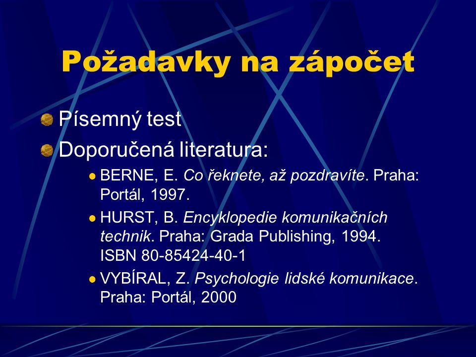 Požadavky na zápočet Písemný test Doporučená literatura: BERNE, E. Co řeknete, až pozdravíte. Praha: Portál, 1997. HURST, B. Encyklopedie komunikačníc