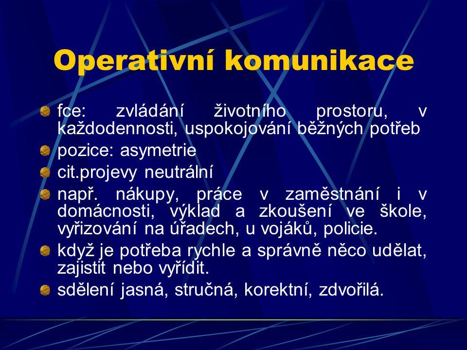 Operativní komunikace fce: zvládání životního prostoru, v každodennosti, uspokojování běžných potřeb pozice: asymetrie cit.projevy neutrální např. nák