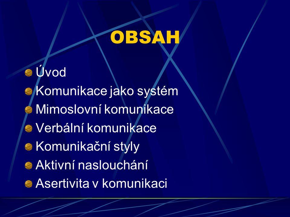 OBSAH Úvod Komunikace jako systém Mimoslovní komunikace Verbální komunikace Komunikační styly Aktivní naslouchání Asertivita v komunikaci