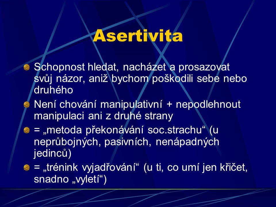 Asertivita Schopnost hledat, nacházet a prosazovat svůj názor, aniž bychom poškodili sebe nebo druhého Není chování manipulativní + nepodlehnout manip