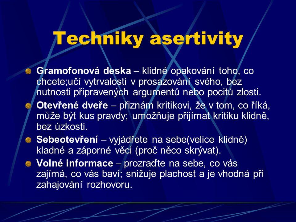 Techniky asertivity Gramofonová deska – klidné opakování toho, co chcete;učí vytrvalosti v prosazování svého, bez nutnosti připravených argumentů nebo