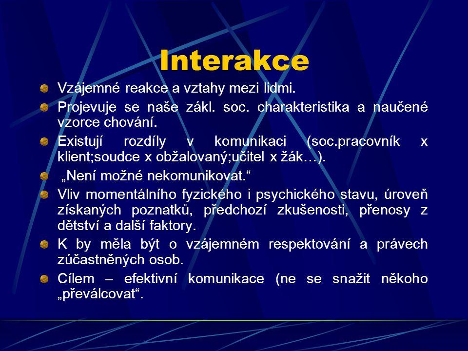 Interakce Vzájemné reakce a vztahy mezi lidmi. Projevuje se naše zákl. soc. charakteristika a naučené vzorce chování. Existují rozdíly v komunikaci (s