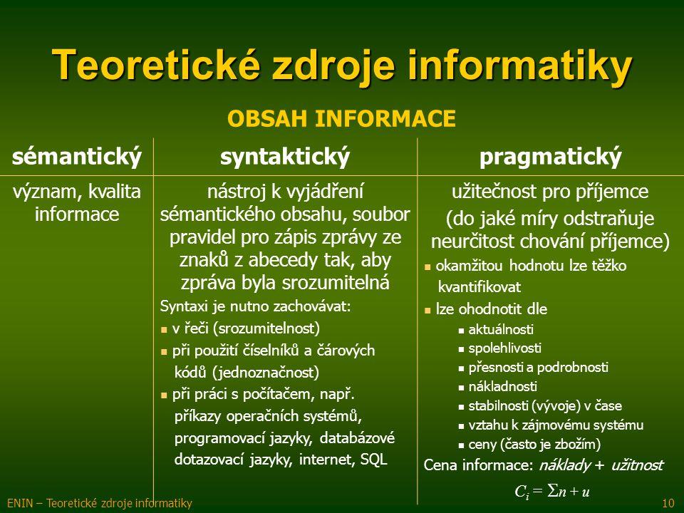 Teoretické zdroje informatiky ENIN – Teoretické zdroje informatiky 10 OBSAH INFORMACE sémantickýsyntaktickýpragmatický význam, kvalita informace nástr