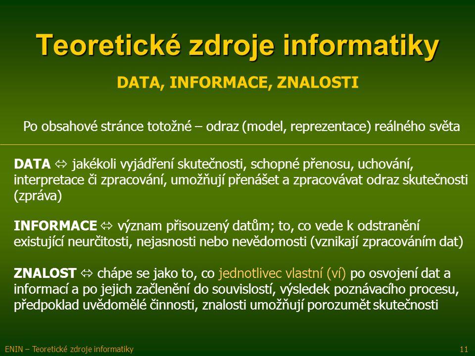 Teoretické zdroje informatiky ENIN – Teoretické zdroje informatiky 11 DATA, INFORMACE, ZNALOSTI Po obsahové stránce totožné – odraz (model, reprezenta