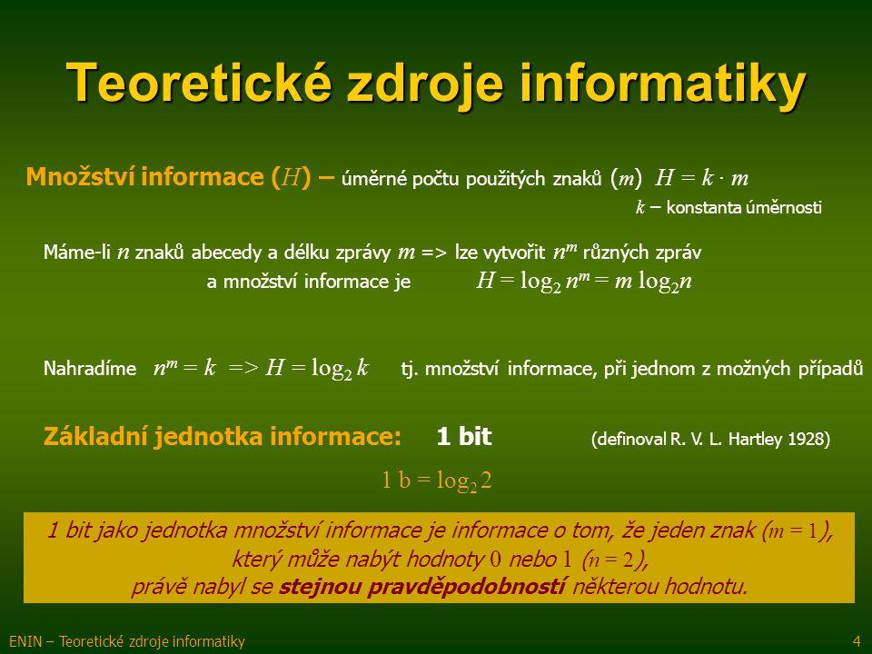 Množství informace ( H ) – úměrné počtu použitých znaků ( m ) H = k · m k – konstanta úměrnosti Teoretické zdroje informatiky ENIN – Teoretické zdroje