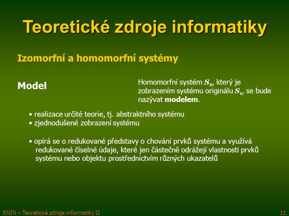 ENIN – Teoretické zdroje informatiky II11 Teoretické zdroje informatiky Izomorfní a homomorfní systémy Model Homomorfní systém S 2, který je zobrazení