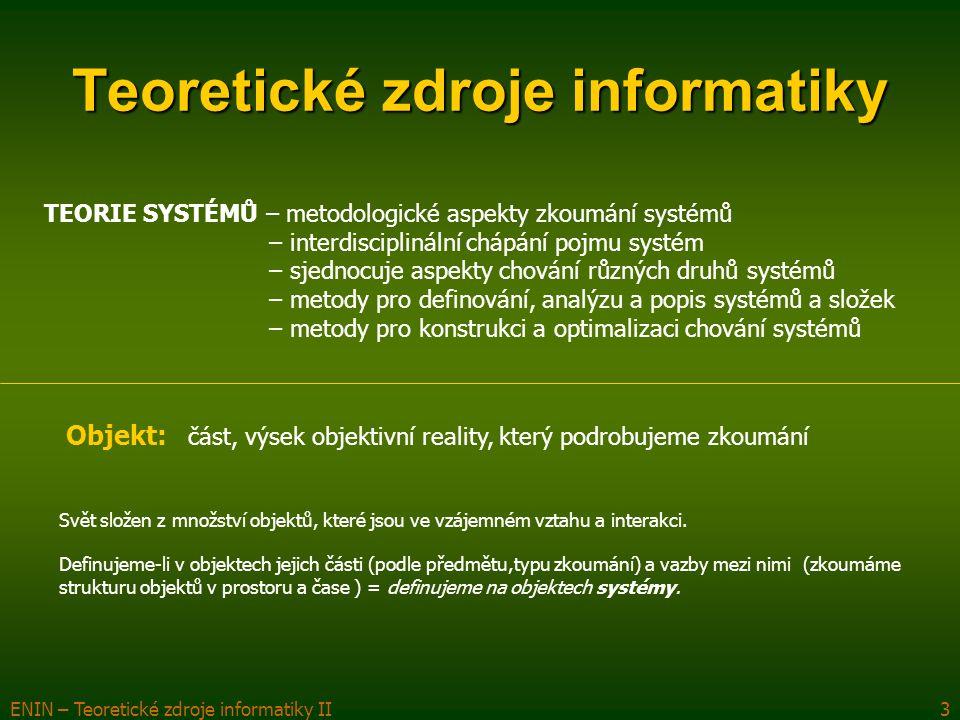 ENIN – Teoretické zdroje informatiky II3 Teoretické zdroje informatiky TEORIE SYSTÉMŮ – metodologické aspekty zkoumání systémů – interdisciplinální ch