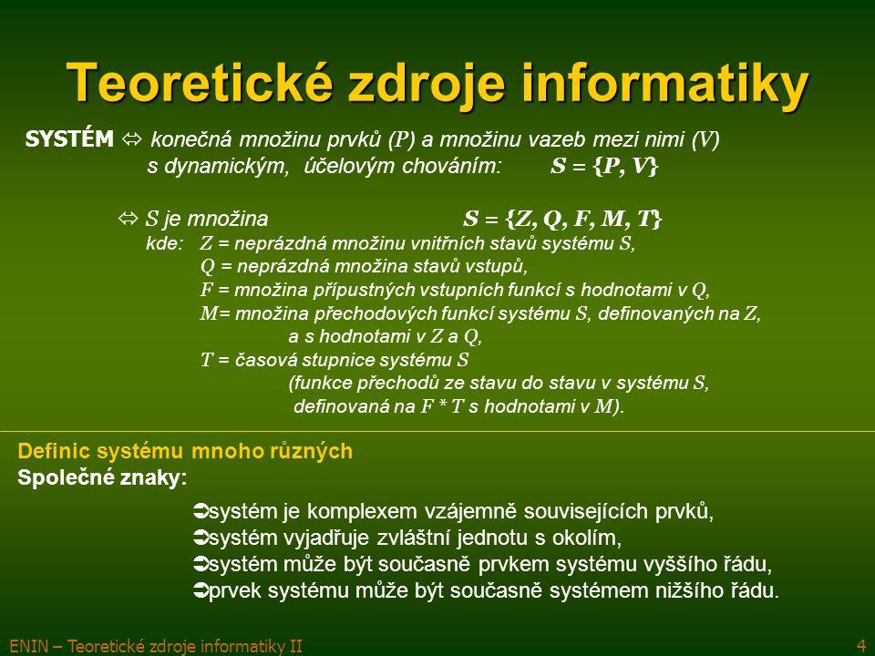 ENIN – Teoretické zdroje informatiky II4 Teoretické zdroje informatiky SYSTÉM  konečná množinu prvků ( P ) a množinu vazeb mezi nimi ( V ) s dynamick