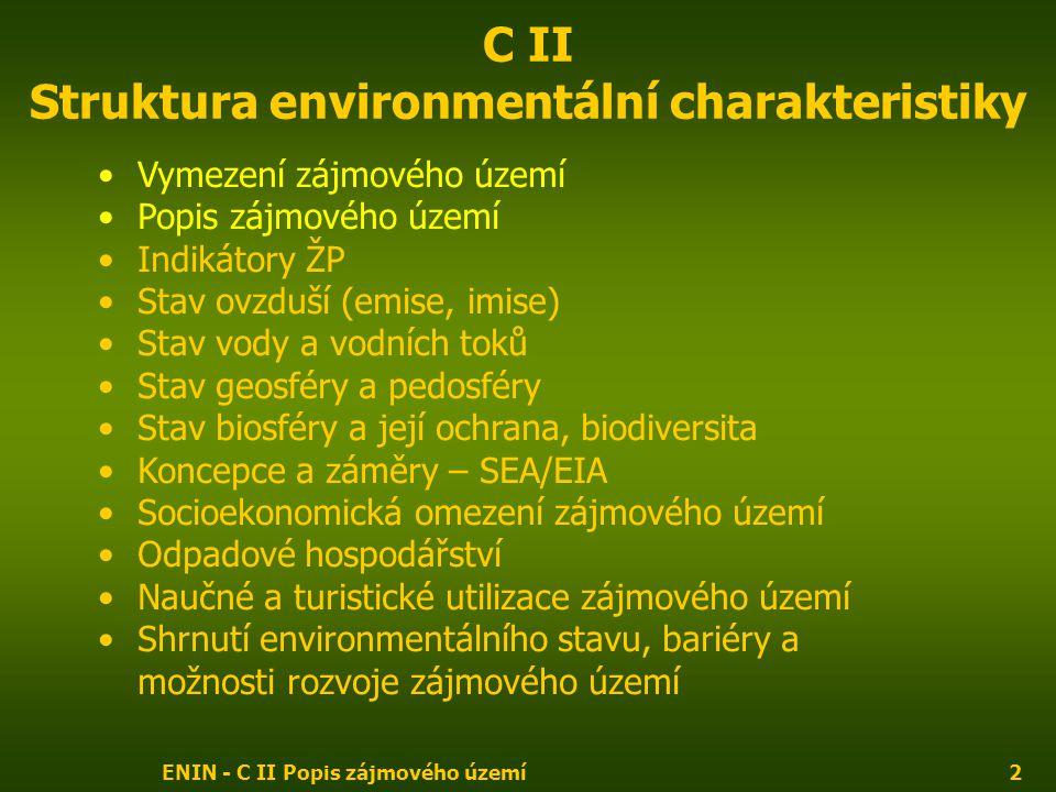 ENIN - C II Popis zájmového území2 C II Struktura environmentální charakteristiky Vymezení zájmového území Popis zájmového území Indikátory ŽP Stav ovzduší (emise, imise) Stav vody a vodních toků Stav geosféry a pedosféry Stav biosféry a její ochrana, biodiversita Koncepce a záměry – SEA/EIA Socioekonomická omezení zájmového území Odpadové hospodářství Naučné a turistické utilizace zájmového území Shrnutí environmentálního stavu, bariéry a možnosti rozvoje zájmového území