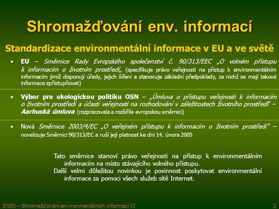 ENIN – Shromažďování environmentálních informací VI3 Shromažďování env.