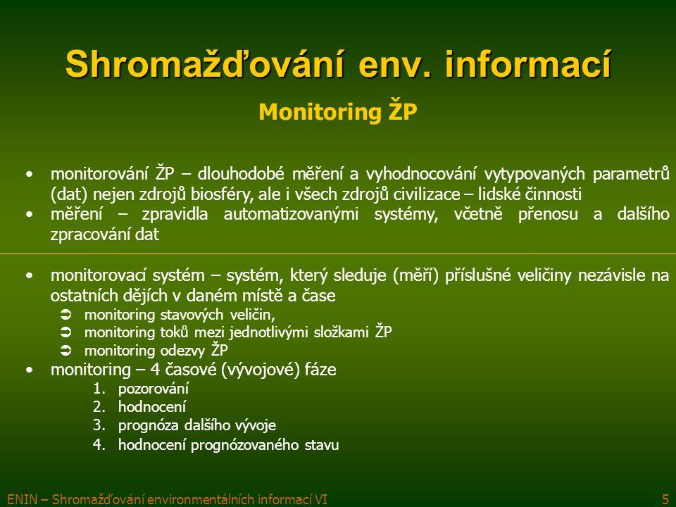 ENIN – Shromažďování environmentálních informací VI6 Shromažďování env.