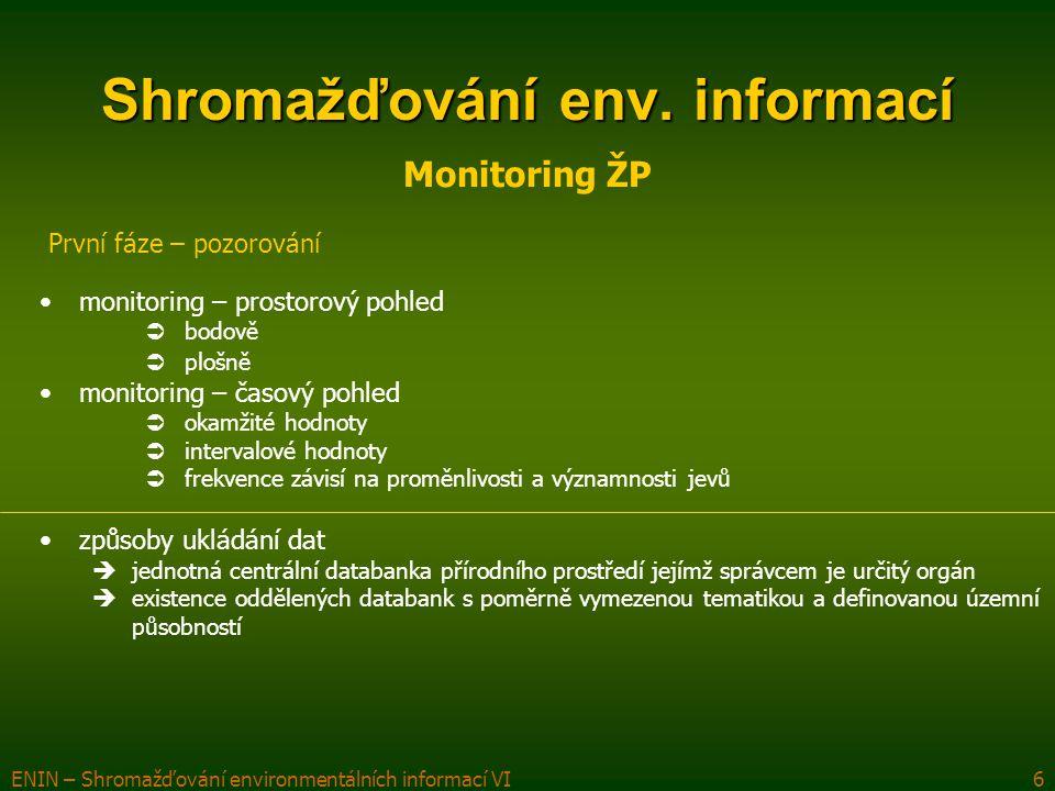 ENIN – Shromažďování environmentálních informací VI7 Shromažďování env.