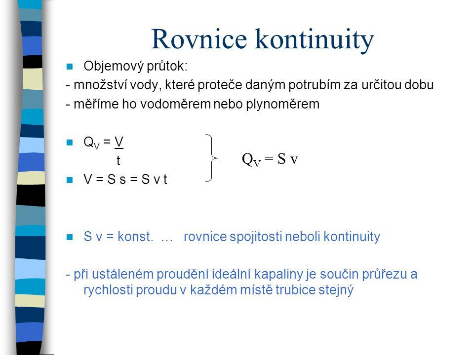 Bernoulliho rovnice Odvozuje se ze zákona zachování mechanické energie E k + E p tlaková = konst.