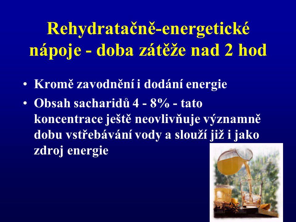 Rehydratačně-energetické nápoje - doba zátěže nad 2 hod Kromě zavodnění i dodání energie Obsah sacharidů 4 - 8% - tato koncentrace ještě neovlivňuje významně dobu vstřebávání vody a slouží již i jako zdroj energie