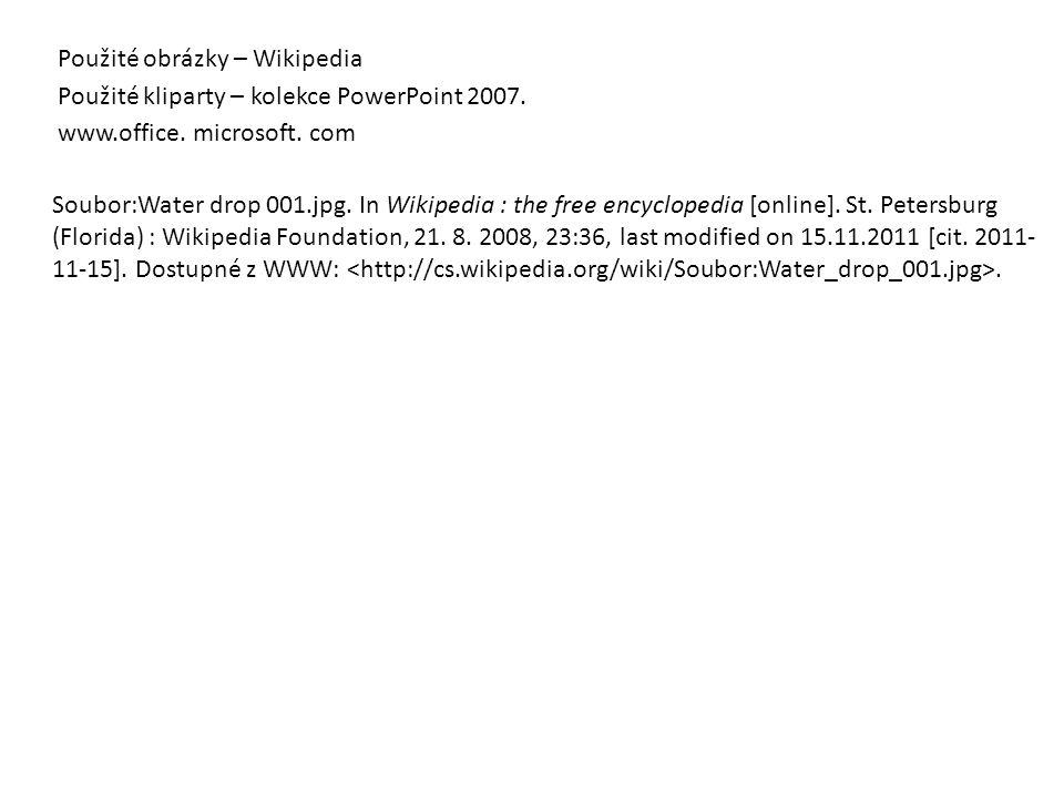 Použité obrázky – Wikipedia Použité kliparty – kolekce PowerPoint 2007. www.office. microsoft. com Soubor:Water drop 001.jpg. In Wikipedia : the free