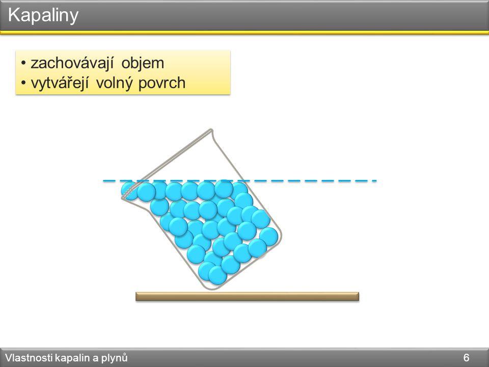 Kapaliny Vlastnosti kapalin a plynů 6 zachovávají objem vytvářejí volný povrch zachovávají objem vytvářejí volný povrch