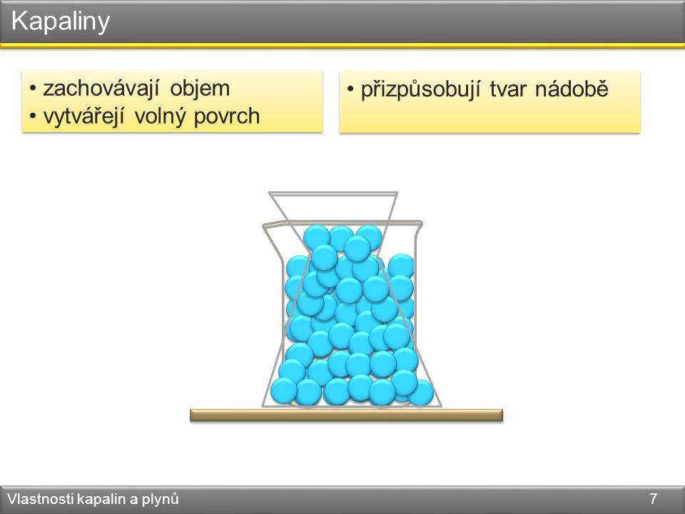 Kapaliny Vlastnosti kapalin a plynů 7 zachovávají objem vytvářejí volný povrch zachovávají objem vytvářejí volný povrch přizpůsobují tvar nádobě