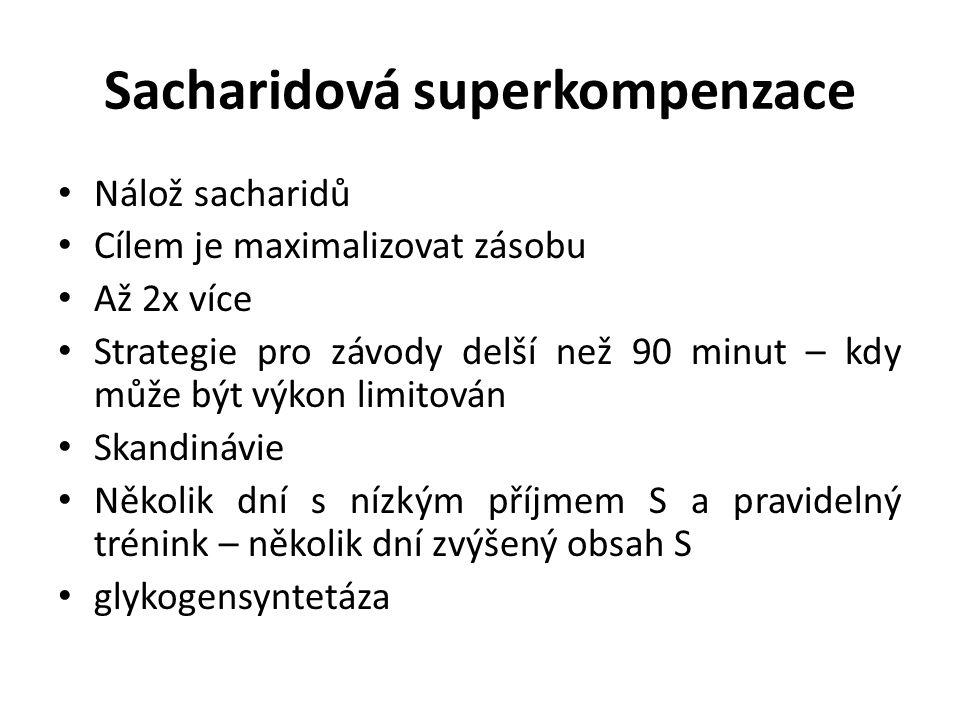 Sacharidová superkompenzace Nálož sacharidů Cílem je maximalizovat zásobu Až 2x více Strategie pro závody delší než 90 minut – kdy může být výkon limitován Skandinávie Několik dní s nízkým příjmem S a pravidelný trénink – několik dní zvýšený obsah S glykogensyntetáza