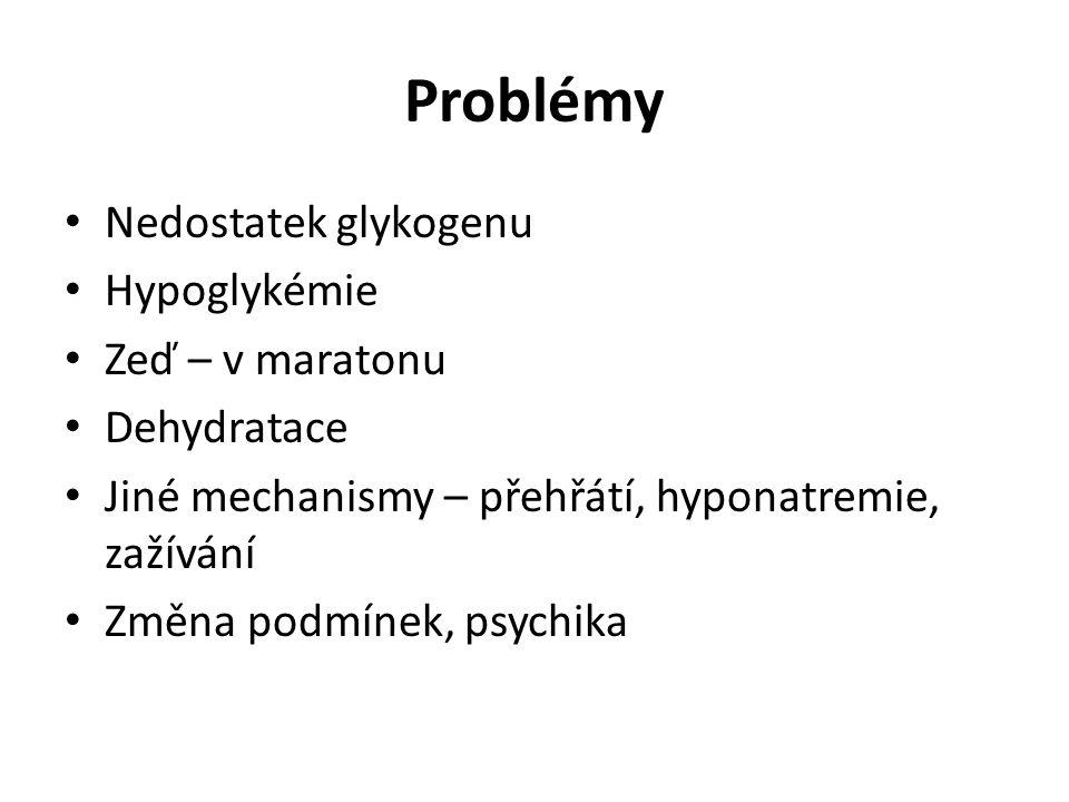 Problémy Nedostatek glykogenu Hypoglykémie Zeď – v maratonu Dehydratace Jiné mechanismy – přehřátí, hyponatremie, zažívání Změna podmínek, psychika
