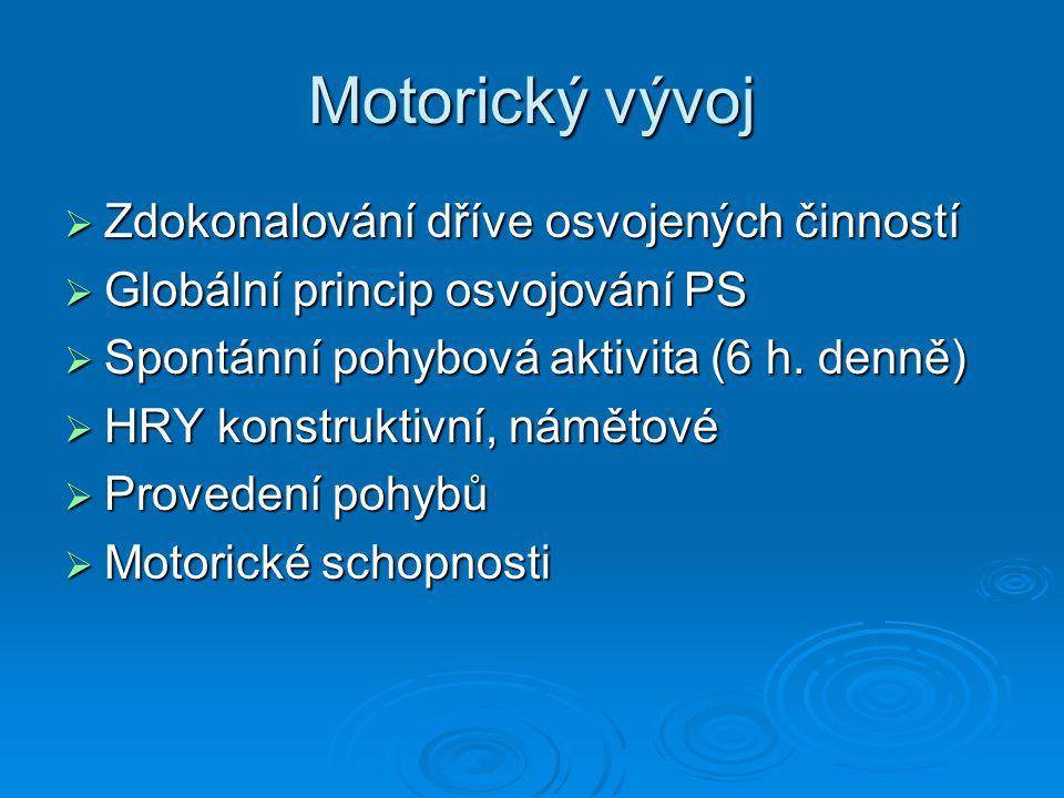 Motorický vývoj  Zdokonalování dříve osvojených činností  Globální princip osvojování PS  Spontánní pohybová aktivita (6 h. denně)  HRY konstrukti