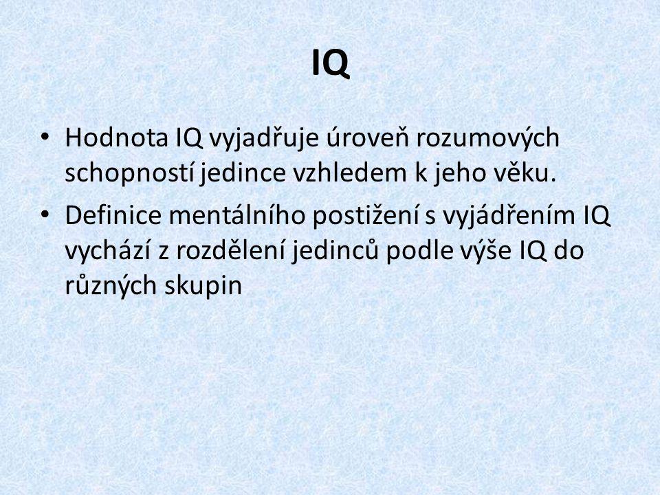 IQ Hodnota IQ vyjadřuje úroveň rozumových schopností jedince vzhledem k jeho věku. Definice mentálního postižení s vyjádřením IQ vychází z rozdělení j