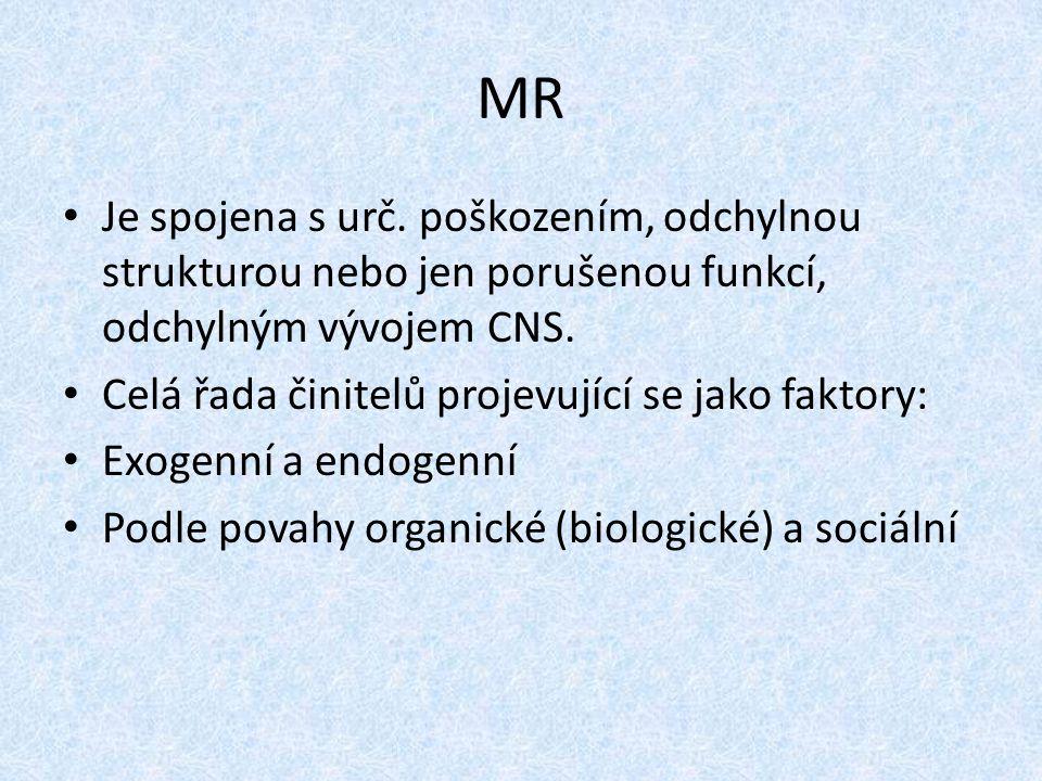 MR Je spojena s urč. poškozením, odchylnou strukturou nebo jen porušenou funkcí, odchylným vývojem CNS. Celá řada činitelů projevující se jako faktory
