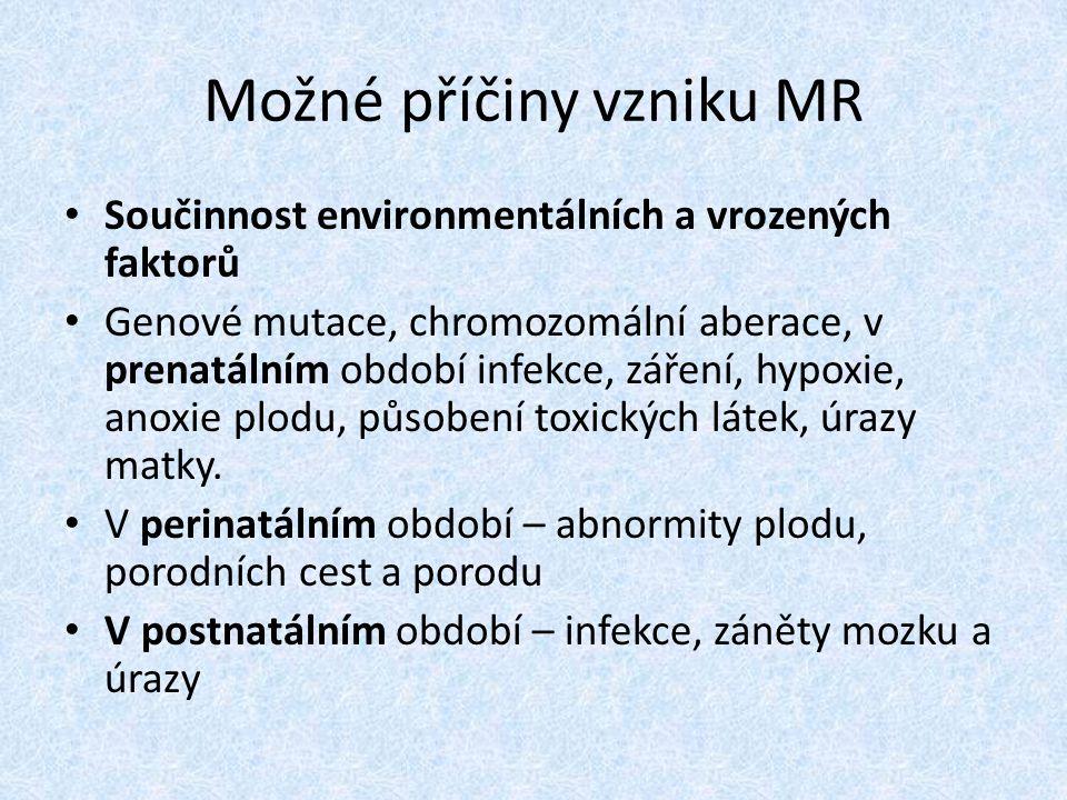 Možné příčiny vzniku MR Součinnost environmentálních a vrozených faktorů Genové mutace, chromozomální aberace, v prenatálním období infekce, záření, hypoxie, anoxie plodu, působení toxických látek, úrazy matky.