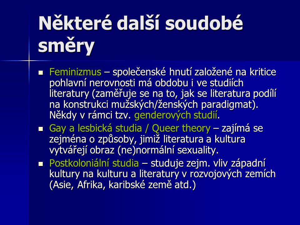 Některé další soudobé směry Feminizmus – společenské hnutí založené na kritice pohlavní nerovnosti má obdobu i ve studiích literatury (zaměřuje se na to, jak se literatura podílí na konstrukci mužských/ženských paradigmat).